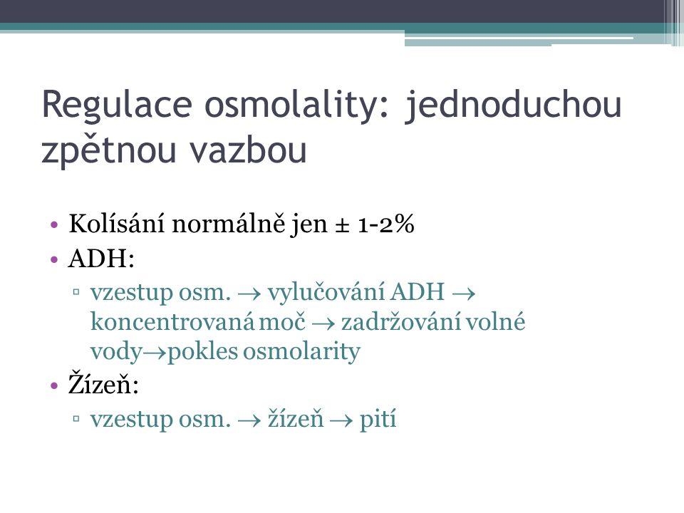 Regulace osmolality: jednoduchou zpětnou vazbou Kolísání normálně jen ± 1-2% ADH: ▫vzestup osm.