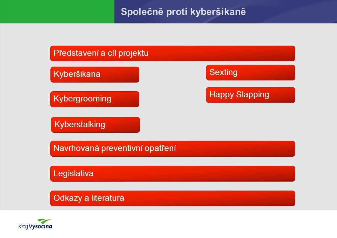 Společně proti kyberšikaně Představení a cíl projektuKyberšikanaSextingKybergroomingHappy SlappingLegislativaOdkazy a literaturaNavrhovaná preventivní opatřeníKyberstalking