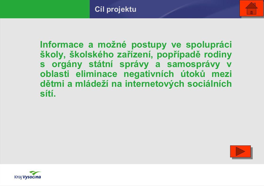 GARANT PROJEKTU: Kraj Vysočina (Pracovní skupina pro elektronickou bezpečnost) http://www.kr-vysocina.cz/eBezpecnost SPOLUPRACUJÍCÍ ORGANIZACE: VYŠŠÍ POLICEJNÍ ŠKOLA MV V JIHLAVĚ Autoři: text – Mgr.