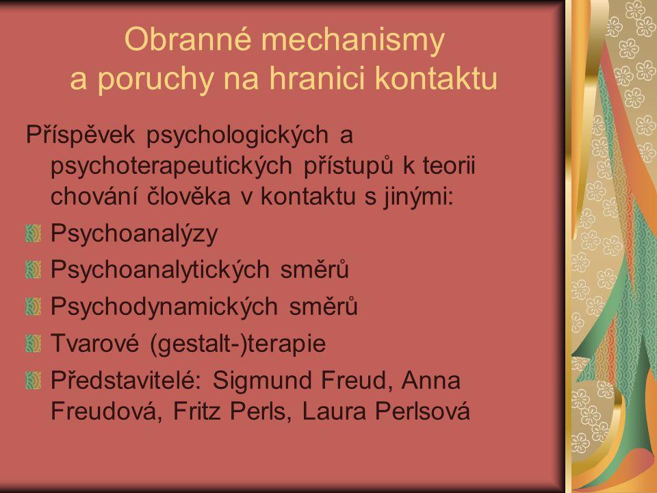 Obranné mechanismy Pojem přinesla dcera S.Freuda Anna Freudová v r.