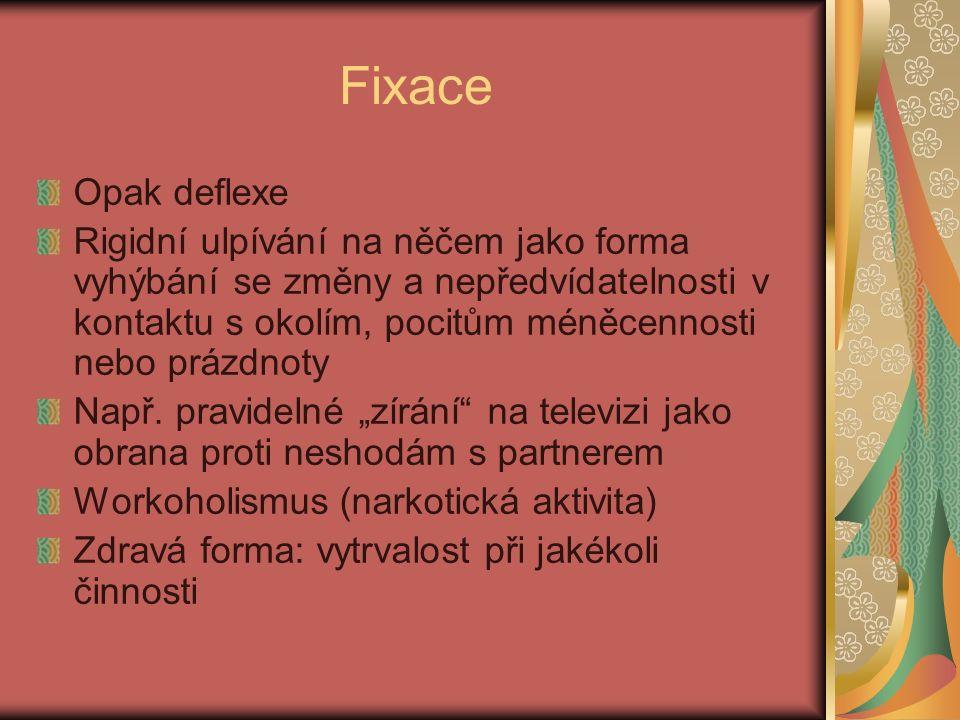 Fixace Opak deflexe Rigidní ulpívání na něčem jako forma vyhýbání se změny a nepředvídatelnosti v kontaktu s okolím, pocitům méněcennosti nebo prázdnoty Např.