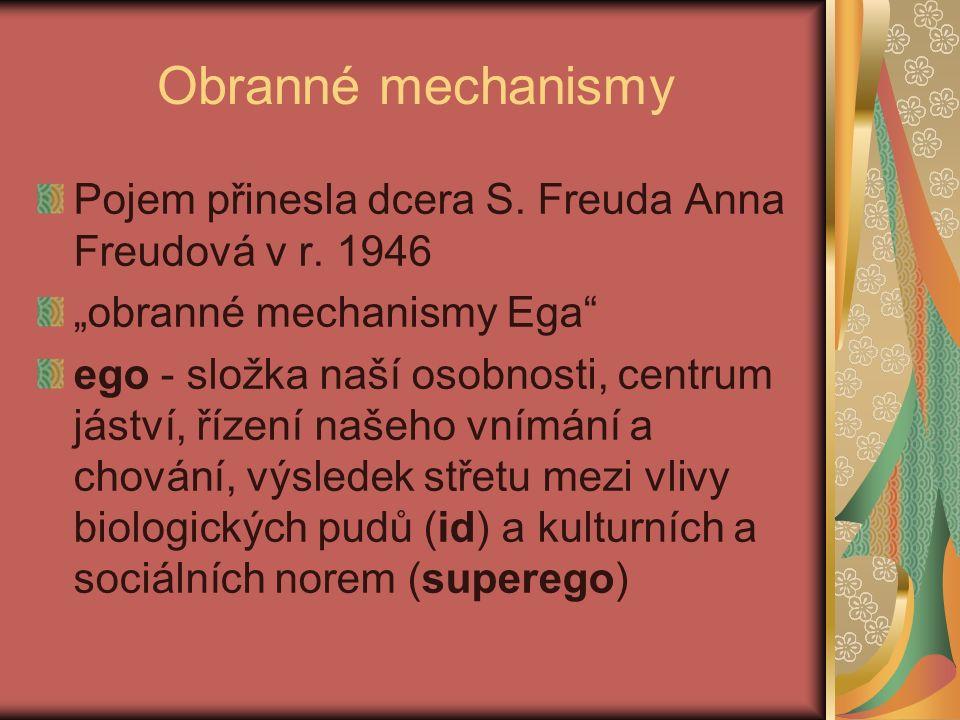 Obranné mechanismy Pojem přinesla dcera S. Freuda Anna Freudová v r.