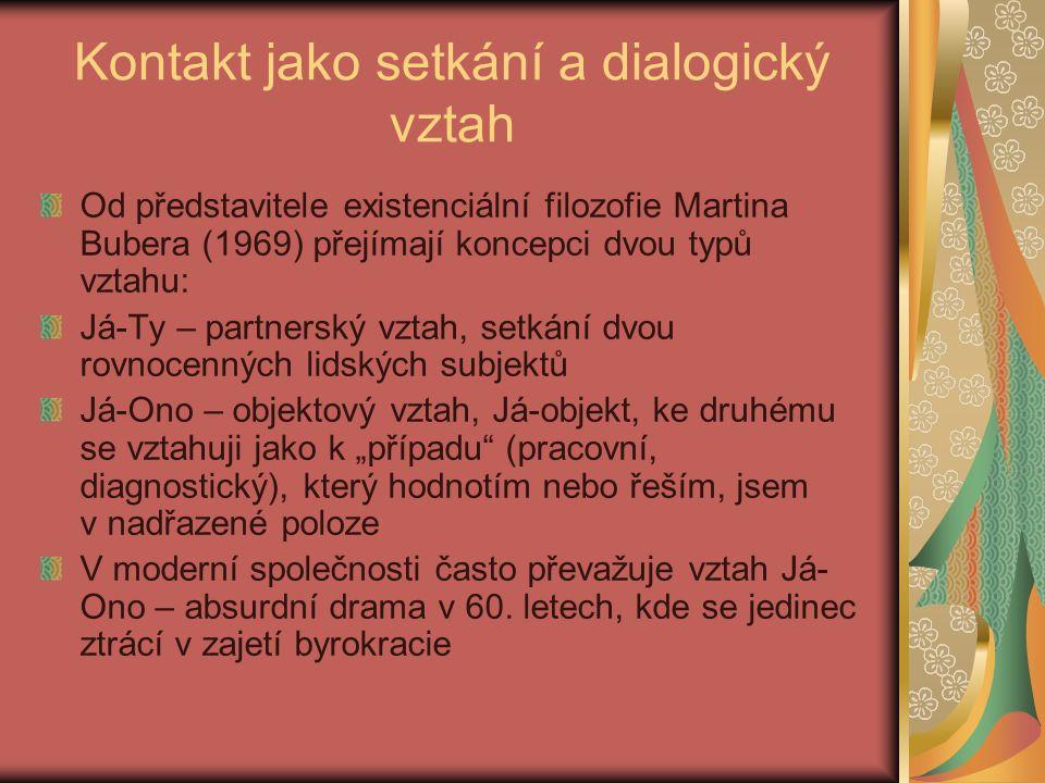 """Kontakt jako setkání a dialogický vztah Od představitele existenciální filozofie Martina Bubera (1969) přejímají koncepci dvou typů vztahu: Já-Ty – partnerský vztah, setkání dvou rovnocenných lidských subjektů Já-Ono – objektový vztah, Já-objekt, ke druhému se vztahuji jako k """"případu (pracovní, diagnostický), který hodnotím nebo řeším, jsem v nadřazené poloze V moderní společnosti často převažuje vztah Já- Ono – absurdní drama v 60."""
