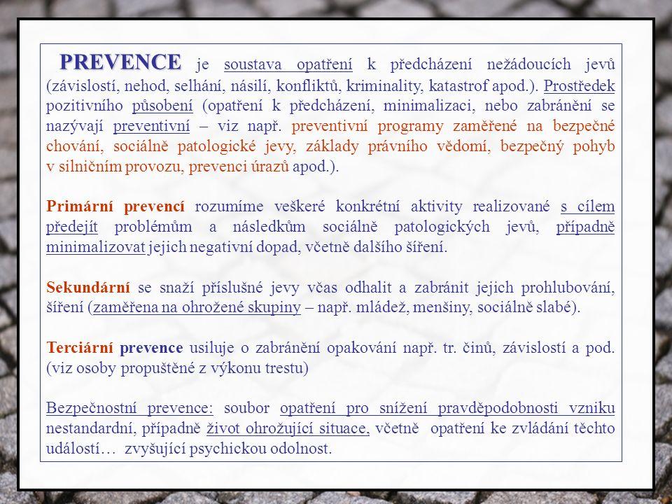 PREVENCE PREVENCE je soustava opatření k předcházení nežádoucích jevů (závislostí, nehod, selhání, násilí, konfliktů, kriminality, katastrof apod.).