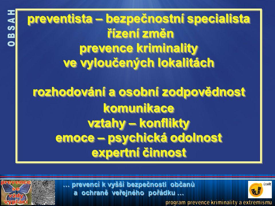 """prevence - základ bezpečnosti """"Prevence kriminality není jen odstraňování příčin, zdrojů či minimalizace hrozeb a rizik, ale především změna způsobu myšlení; ochota přijmout zodpovědnost za kvalitu svého života, za svou bezpečnost a bezpečnost prostředí, ve kterém žijeme. Jitka Gjuričová, ředitelka OPK MV ČR"""