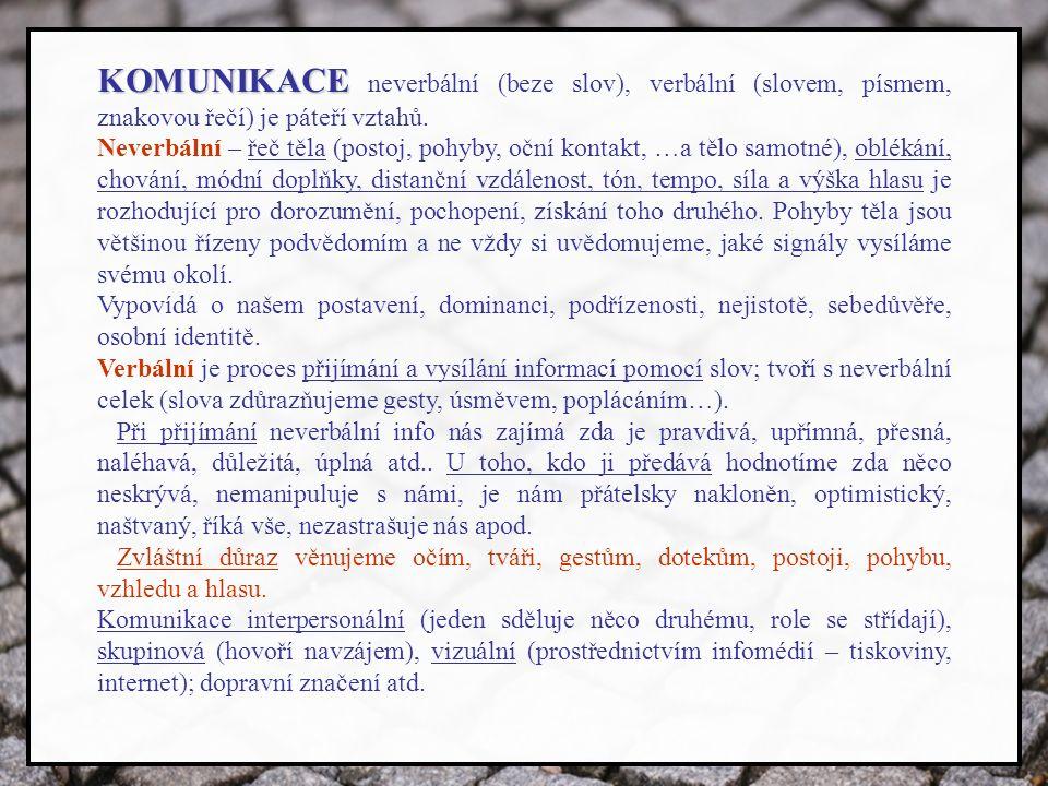 KOMUNIKACE KOMUNIKACE neverbální (beze slov), verbální (slovem, písmem, znakovou řečí) je páteří vztahů.