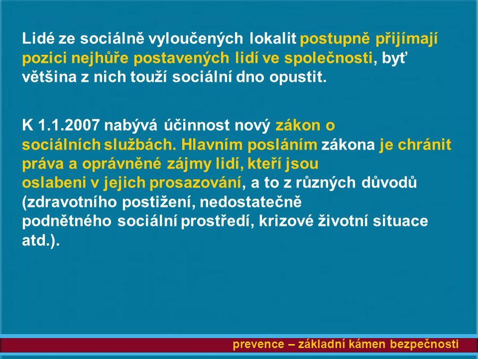 prevence – základní kámen bezpečnosti Lidé ze sociálně vyloučených lokalit postupně přijímají pozici nejhůře postavených lidí ve společnosti, byť většina z nich touží sociální dno opustit.
