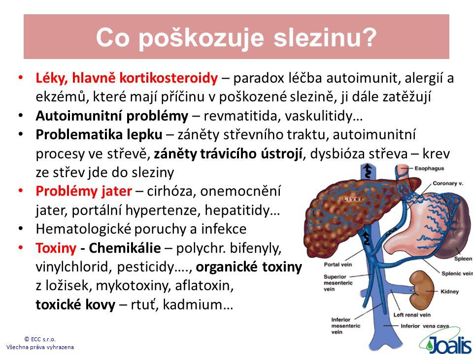Co poškozuje slezinu? Léky, hlavně kortikosteroidy – paradox léčba autoimunit, alergií a ekzémů, které mají příčinu v poškozené slezině, ji dále zatěž