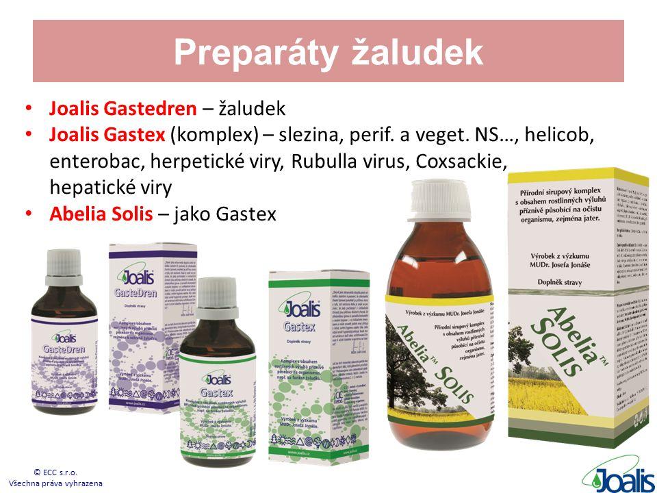 Preparáty žaludek Joalis Gastedren – žaludek Joalis Gastex (komplex) – slezina, perif. a veget. NS…, helicob, enterobac, herpetické viry, Rubulla viru