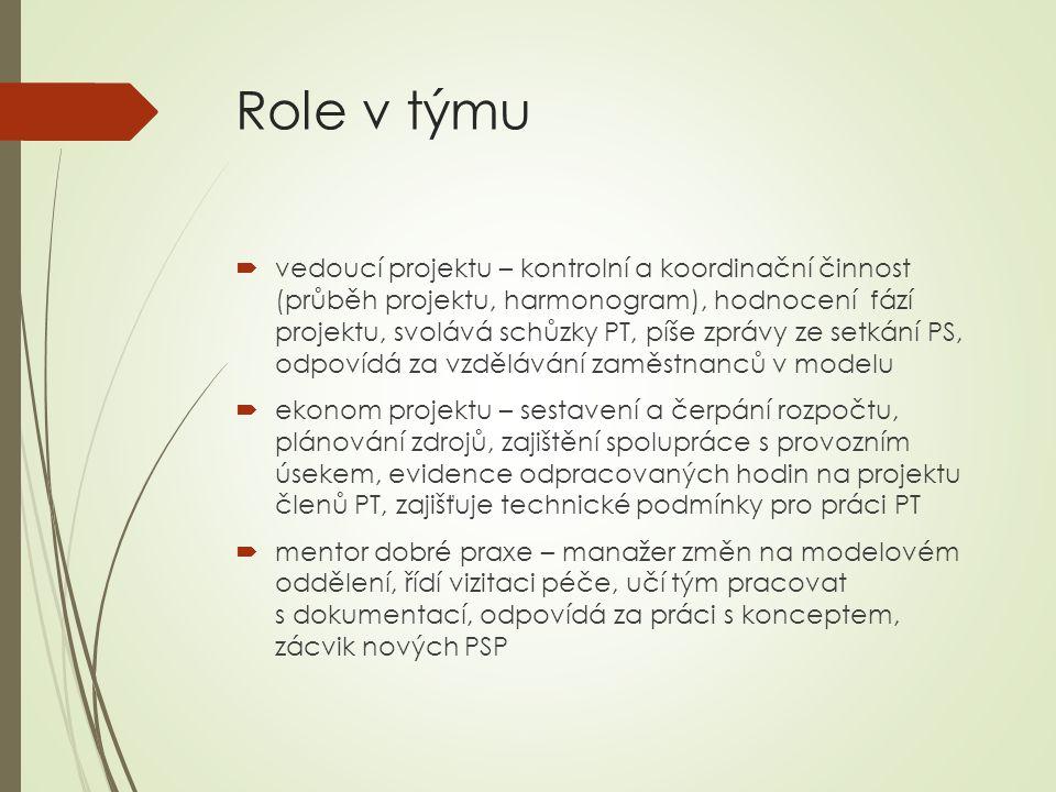 Role v týmu  vedoucí projektu – kontrolní a koordinační činnost (průběh projektu, harmonogram), hodnocení fází projektu, svolává schůzky PT, píše zprávy ze setkání PS, odpovídá za vzdělávání zaměstnanců v modelu  ekonom projektu – sestavení a čerpání rozpočtu, plánování zdrojů, zajištění spolupráce s provozním úsekem, evidence odpracovaných hodin na projektu členů PT, zajišťuje technické podmínky pro práci PT  mentor dobré praxe – manažer změn na modelovém oddělení, řídí vizitaci péče, učí tým pracovat s dokumentací, odpovídá za práci s konceptem, zácvik nových PSP