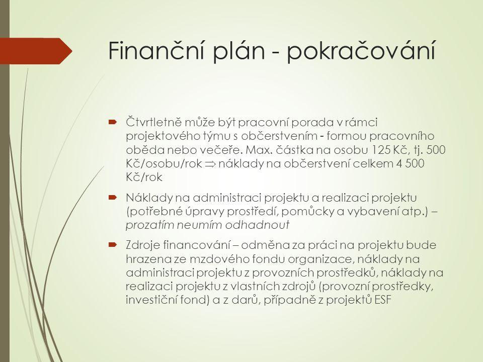 Finanční plán - pokračování  Čtvrtletně může být pracovní porada v rámci projektového týmu s občerstvením - formou pracovního oběda nebo večeře.