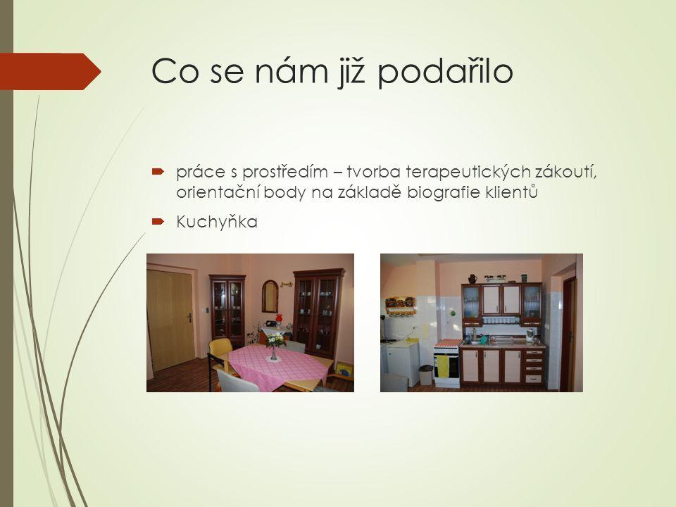 Co se nám již podařilo  práce s prostředím – tvorba terapeutických zákoutí, orientační body na základě biografie klientů  Kuchyňka
