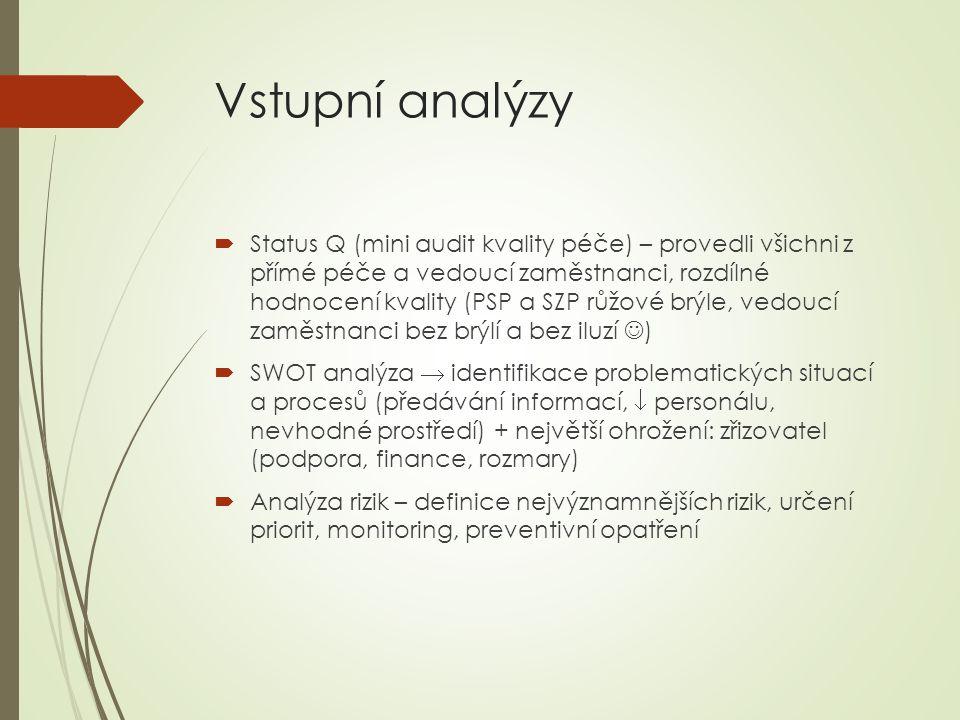 Vstupní analýzy  Status Q (mini audit kvality péče) – provedli všichni z přímé péče a vedoucí zaměstnanci, rozdílné hodnocení kvality (PSP a SZP růžové brýle, vedoucí zaměstnanci bez brýlí a bez iluzí )  SWOT analýza  identifikace problematických situací a procesů (předávání informací,  personálu, nevhodné prostředí) + největší ohrožení: zřizovatel (podpora, finance, rozmary)  Analýza rizik – definice nejvýznamnějších rizik, určení priorit, monitoring, preventivní opatření