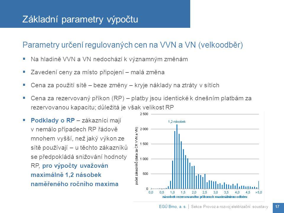 Parametry určení regulovaných cen na VVN a VN (velkoodběr)  Na hladině VVN a VN nedochází k významným změnám  Zavedení ceny za místo připojení – malá změna  Cena za použití sítě – beze změny – kryje náklady na ztráty v sítích  Cena za rezervovaný příkon (RP) – platby jsou identické k dnešním platbám za rezervovanou kapacitu; důležitá je však velikost RP  Podklady o RP – zákazníci mají v nemálo případech RP řádově mnohem vyšší, než jaký výkon ze sítě používají – u těchto zákazníků se předpokládá snižování hodnoty RP, pro výpočty uvažován maximálně 1,2 násobek naměřeného ročního maxima Základní parametry výpočtu EGÚ Brno, a.