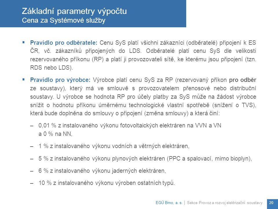  Pravidlo pro odběratele: Cenu SyS platí všichni zákazníci (odběratelé) připojení k ES ČR, vč.