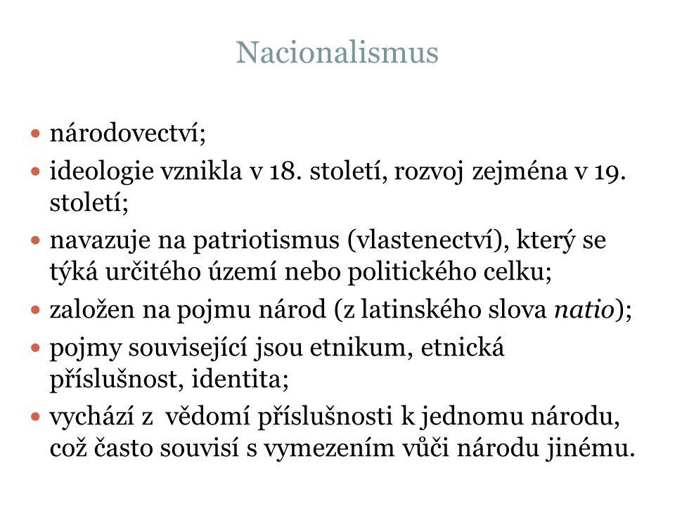 Nacionalismus národovectví; ideologie vznikla v 18.