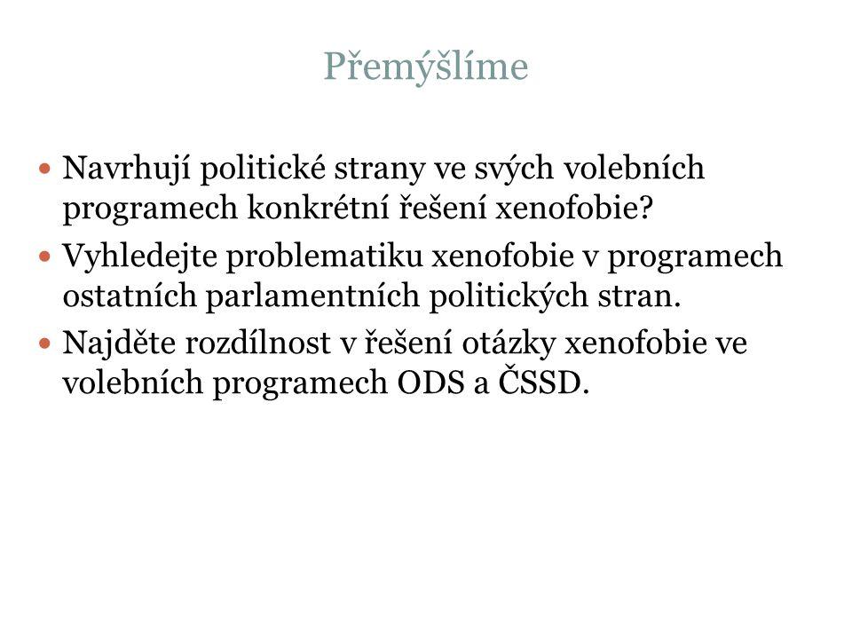 Přemýšlíme Navrhují politické strany ve svých volebních programech konkrétní řešení xenofobie.