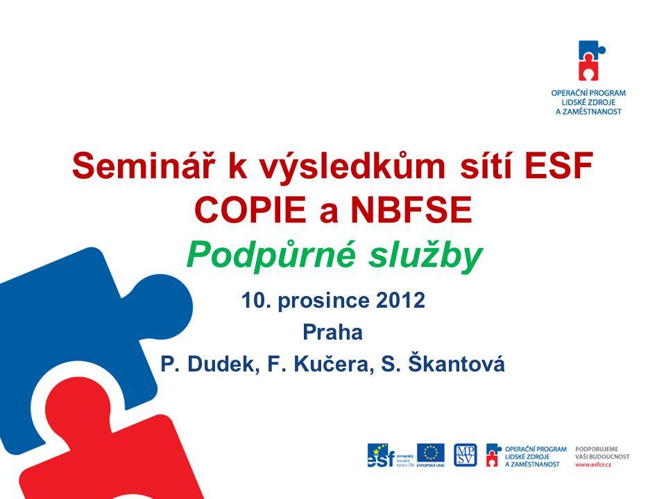 Seminář k výsledkům sítí ESF COPIE a NBFSE Podpůrné služby 10. prosince 2012 Praha P. Dudek, F. Kučera, S. Škantová