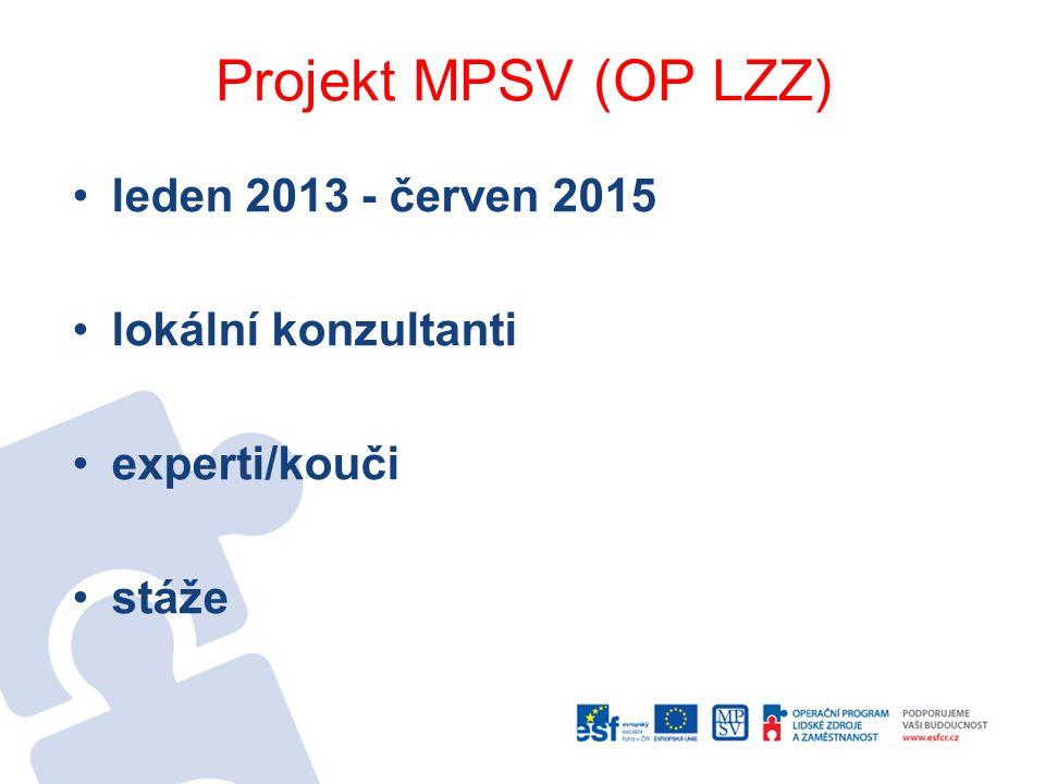 Projekt MPSV (OP LZZ) leden 2013 - červen 2015 lokální konzultanti experti/kouči stáže