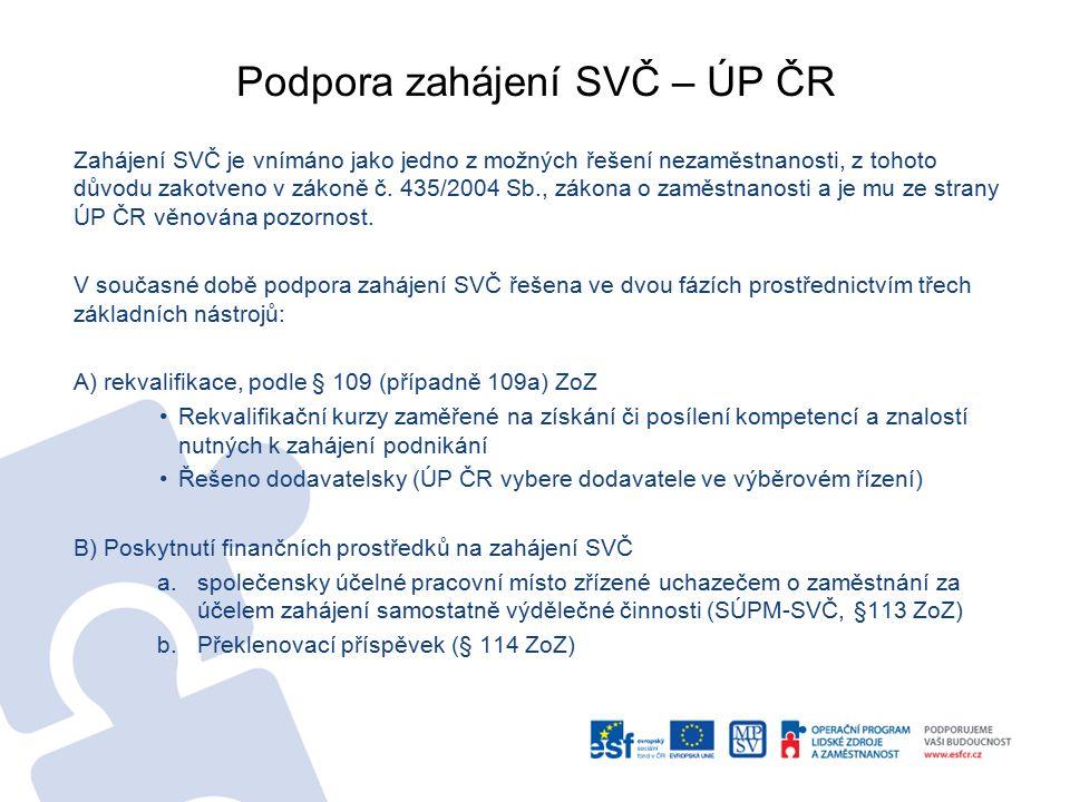 Podpora zahájení SVČ – ÚP ČR Zahájení SVČ je vnímáno jako jedno z možných řešení nezaměstnanosti, z tohoto důvodu zakotveno v zákoně č. 435/2004 Sb.,