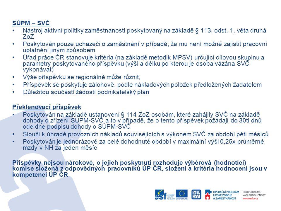 SÚPM – SVČ Nástroj aktivní politiky zaměstnanosti poskytovaný na základě § 113, odst. 1, věta druhá ZoZ Poskytován pouze uchazeči o zaměstnání v přípa