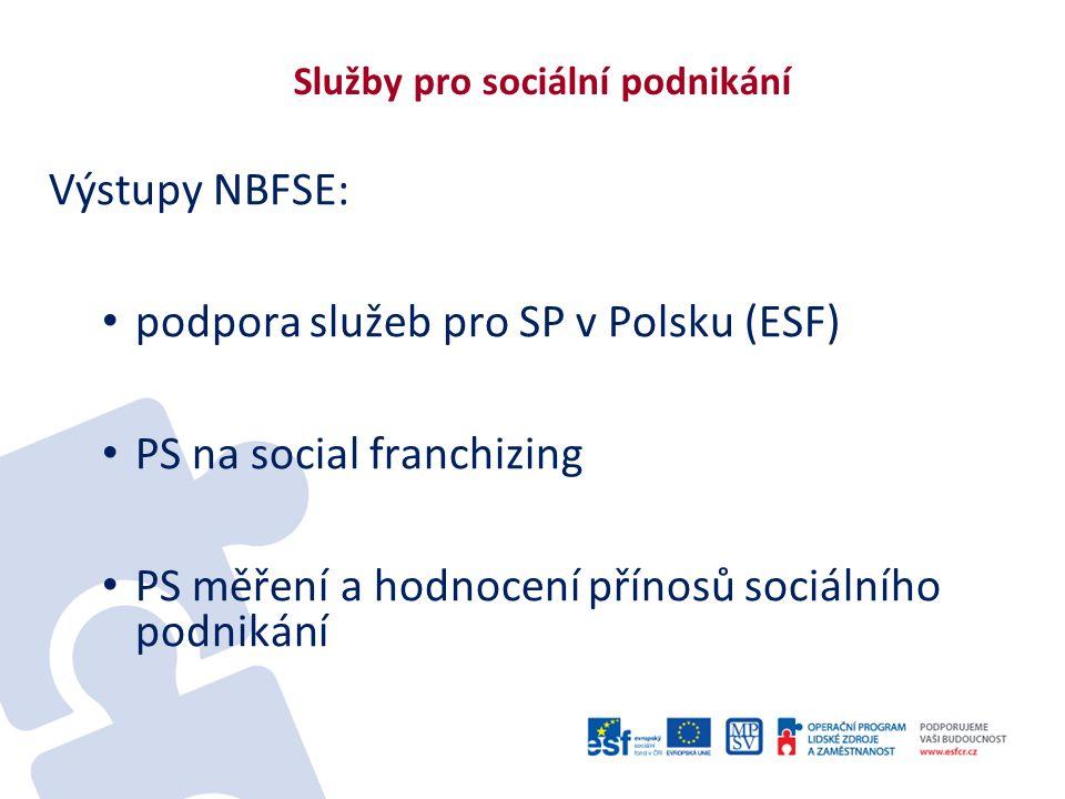 Služby pro sociální podnikání Výstupy NBFSE: podpora služeb pro SP v Polsku (ESF) PS na social franchizing PS měření a hodnocení přínosů sociálního po