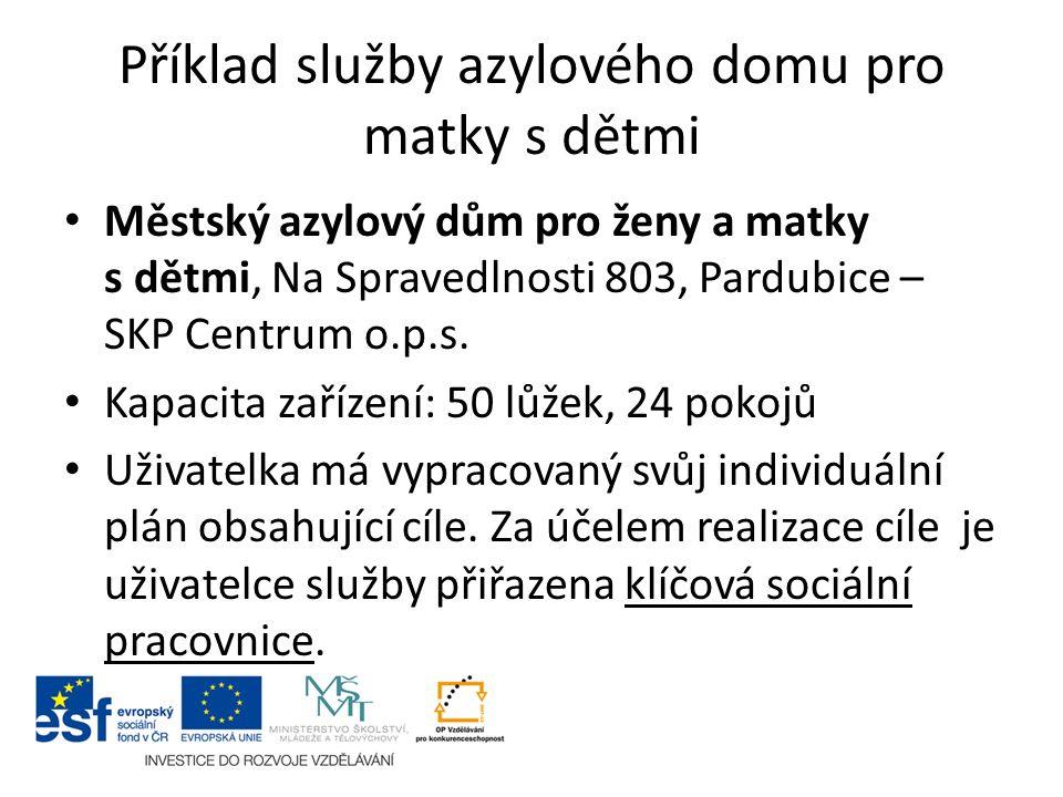 Příklad služby azylového domu pro matky s dětmi Městský azylový dům pro ženy a matky s dětmi, Na Spravedlnosti 803, Pardubice – SKP Centrum o.p.s. Kap