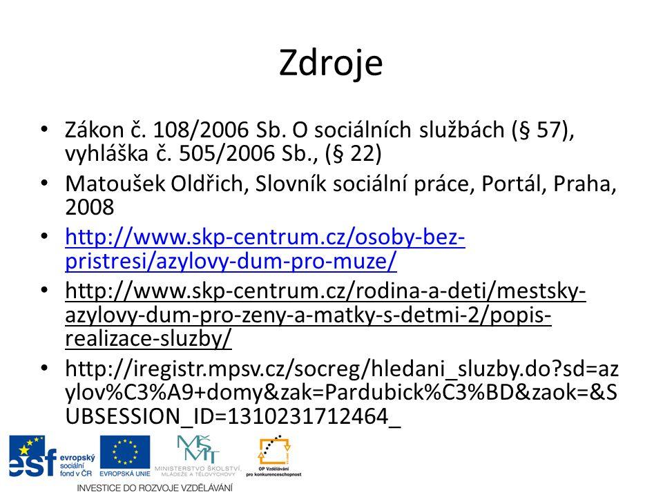 Zdroje Zákon č. 108/2006 Sb. O sociálních službách (§ 57), vyhláška č. 505/2006 Sb., (§ 22) Matoušek Oldřich, Slovník sociální práce, Portál, Praha, 2