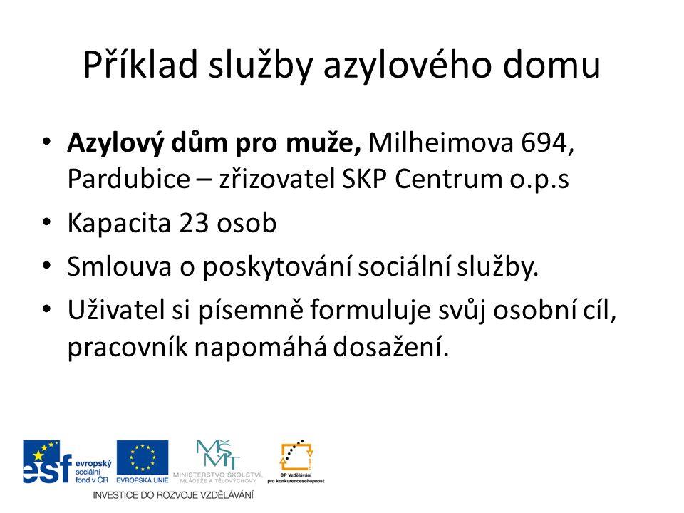 Příklad služby azylového domu Azylový dům pro muže, Milheimova 694, Pardubice – zřizovatel SKP Centrum o.p.s Kapacita 23 osob Smlouva o poskytování so