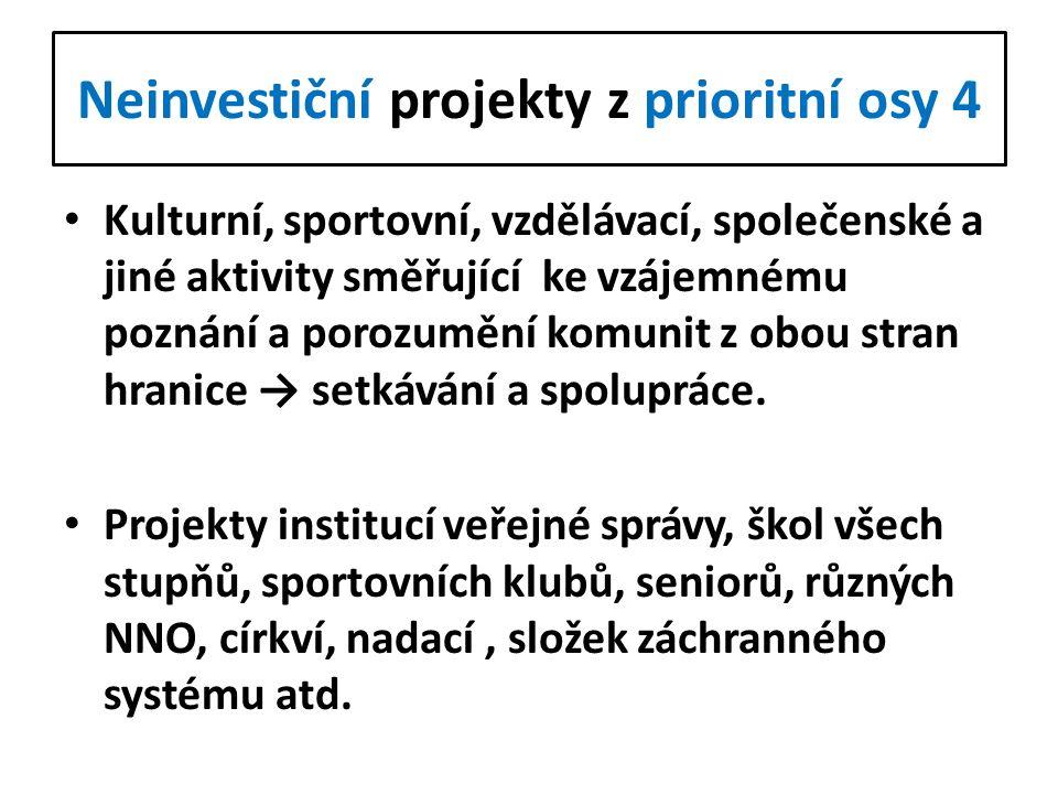Neinvestiční projekty z prioritní osy 4 Kulturní, sportovní, vzdělávací, společenské a jiné aktivity směřující ke vzájemnému poznání a porozumění komu