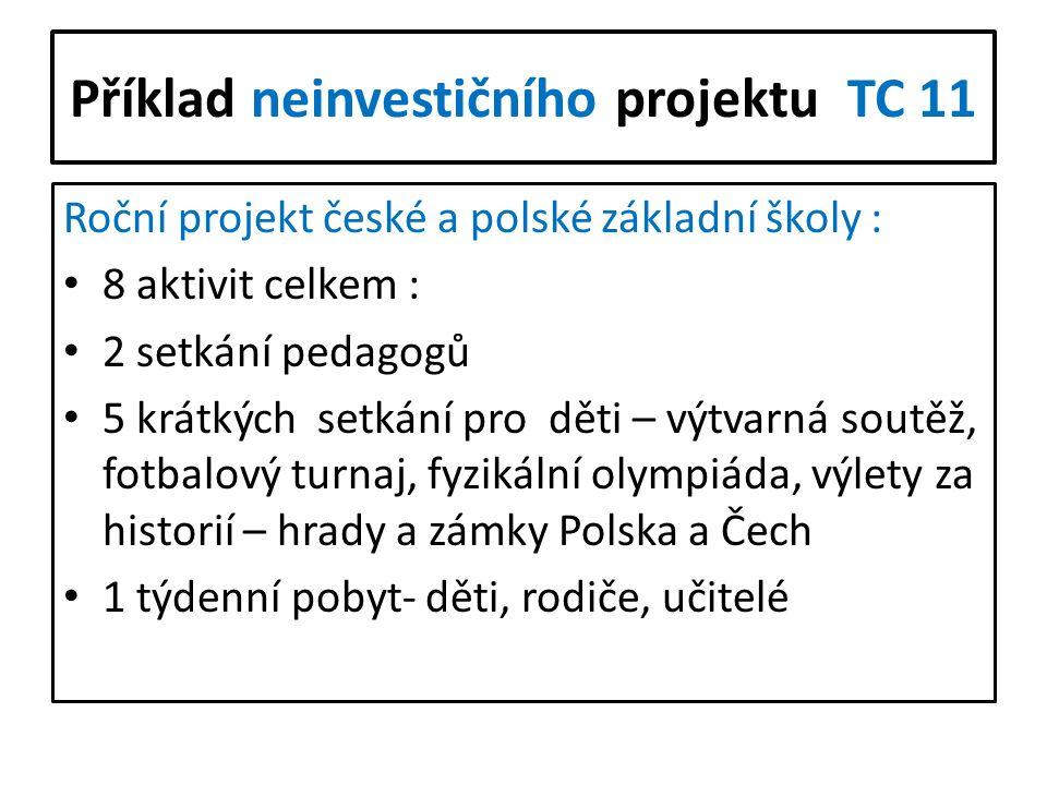 Příklad neinvestičního projektu TC 11 Roční projekt české a polské základní školy : 8 aktivit celkem : 2 setkání pedagogů 5 krátkých setkání pro děti