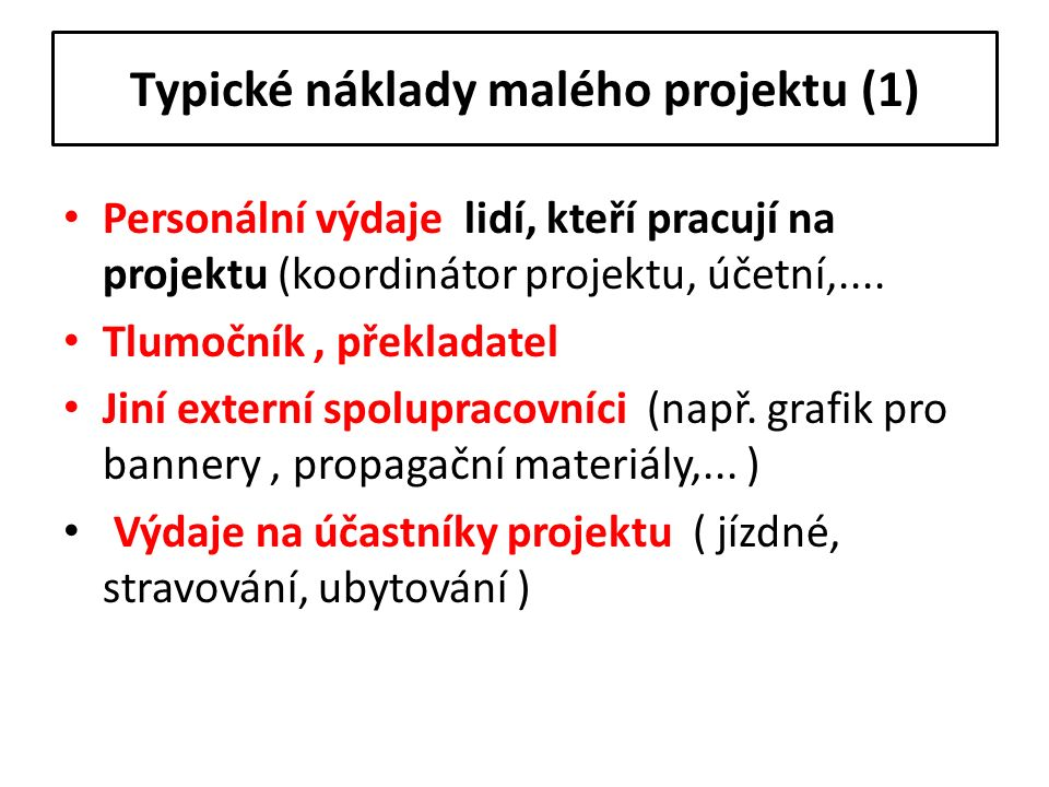 Typické náklady malého projektu (1) Personální výdaje lidí, kteří pracují na projektu (koordinátor projektu, účetní,.... Tlumočník, překladatel Jiní e
