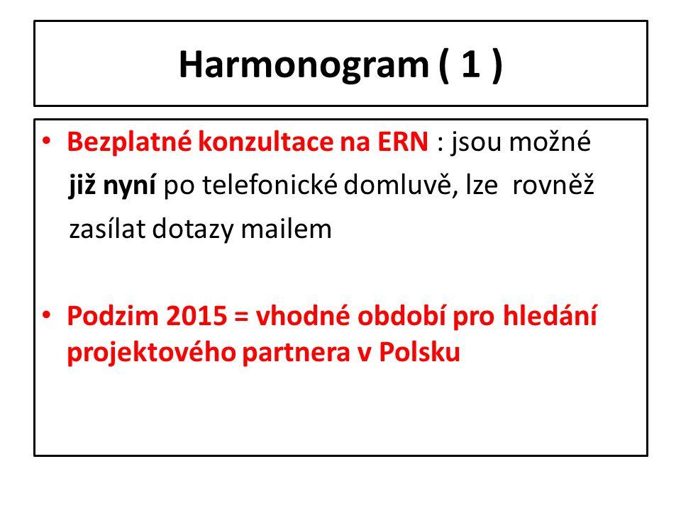 Harmonogram ( 1 ) Bezplatné konzultace na ERN : jsou možné již nyní po telefonické domluvě, lze rovněž zasílat dotazy mailem Podzim 2015 = vhodné obdo