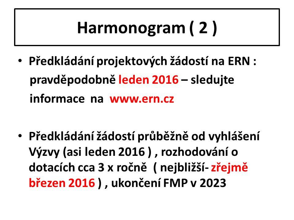 Harmonogram ( 2 ) Předkládání projektových žádostí na ERN : pravděpodobně leden 2016 – sledujte informace na www.ern.cz Předkládání žádostí průběžně o