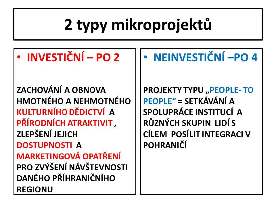 2 typy mikroprojektů INVESTIČNÍ – PO 2 ZACHOVÁNÍ A OBNOVA HMOTNÉHO A NEHMOTNÉHO KULTURNÍHO DĚDICTVÍ A PŘÍRODNÍCH ATRAKTIVIT, ZLEPŠENÍ JEJICH DOSTUPNOS