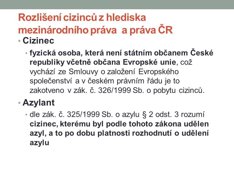 Rozlišení cizinců z hlediska mezinárodního práva a práva ČR Cizinec fyzická osoba, která není státním občanem České republiky včetně občana Evropské unie, což vychází ze Smlouvy o založení Evropského společenství a v českém právním řádu je to zakotveno v zák.