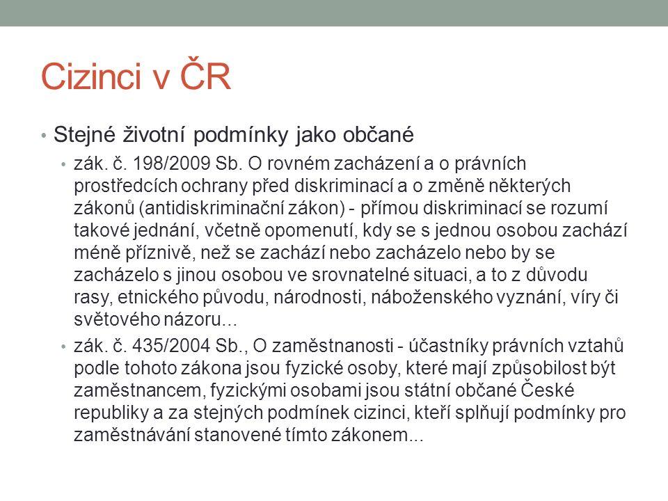 Cizinci v ČR Stejné životní podmínky jako občané zák. č. 198/2009 Sb. O rovném zacházení a o právních prostředcích ochrany před diskriminací a o změně