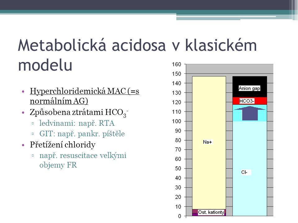Metabolická acidosa v klasickém modelu Hyperchloridemická MAC (=s normálním AG) Způsobena ztrátami HCO 3 - ▫ledvinami: např. RTA ▫GIT: např. pankr. pí