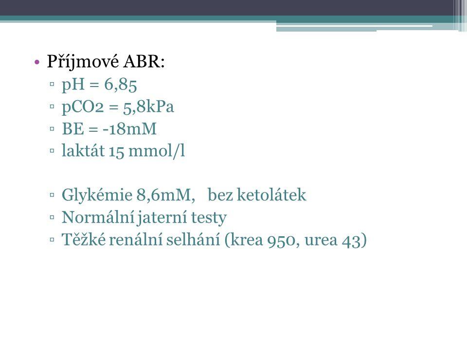 Příjmové ABR: ▫pH = 6,85 ▫pCO2 = 5,8kPa ▫BE = -18mM ▫laktát 15 mmol/l ▫Glykémie 8,6mM, bez ketolátek ▫Normální jaterní testy ▫Těžké renální selhání (k