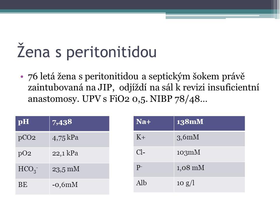 Žena s peritonitidou 76 letá žena s peritonitidou a septickým šokem právě zaintubovaná na JIP, odjíždí na sál k revizi insuficientní anastomosy. UPV s