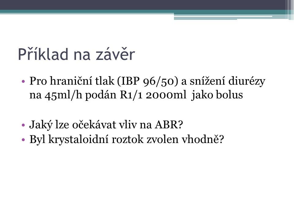 Příklad na závěr Pro hraniční tlak (IBP 96/50) a snížení diurézy na 45ml/h podán R1/1 2000ml jako bolus Jaký lze očekávat vliv na ABR? Byl krystaloidn