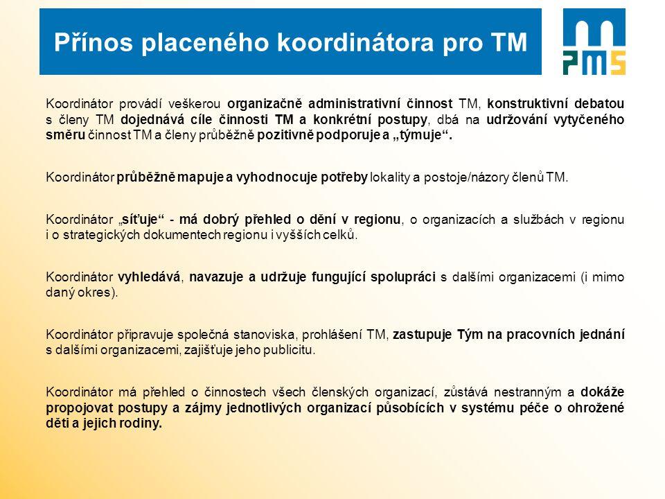 Přínos placeného koordinátora pro TM Koordinátor provádí veškerou organizačně administrativní činnost TM, konstruktivní debatou s členy TM dojednává c