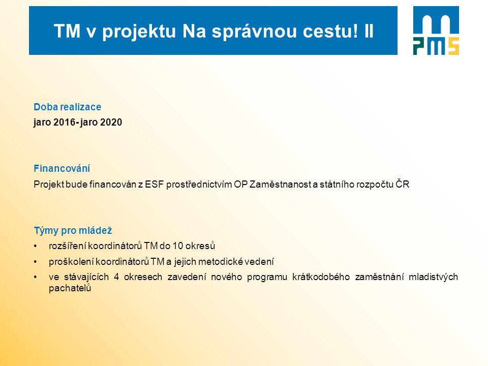 TM v projektu Na správnou cestu! II Doba realizace jaro 2016- jaro 2020 Financování Projekt bude financován z ESF prostřednictvím OP Zaměstnanost a st