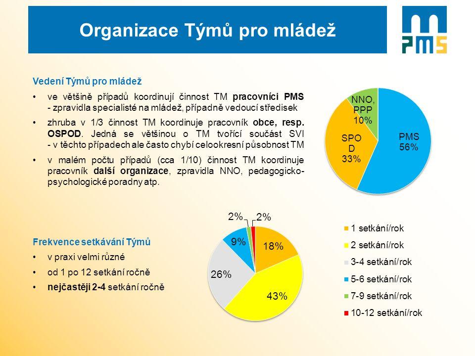 Organizace Týmů pro mládež Vedení Týmů pro mládež ve většině případů koordinují činnost TM pracovníci PMS - zpravidla specialisté na mládež, případně