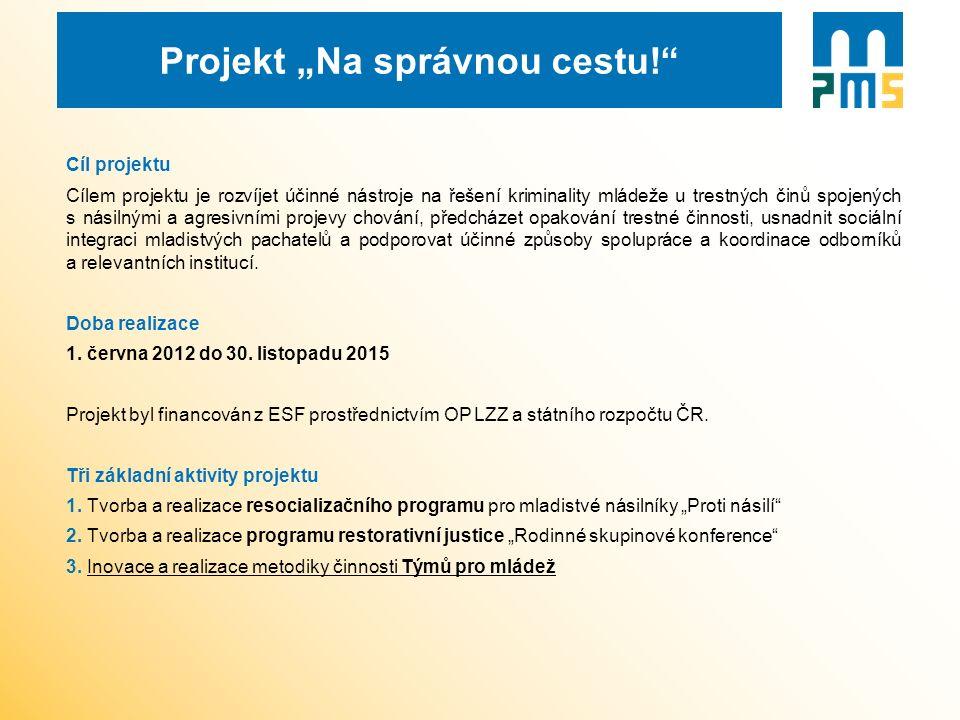 """Projekt """"Na správnou cestu!"""" Cíl projektu Cílem projektu je rozvíjet účinné nástroje na řešení kriminality mládeže u trestných činů spojených s násiln"""