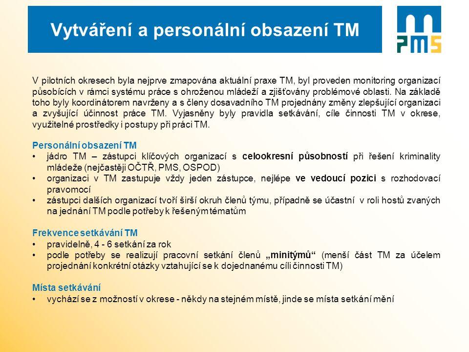 Vytváření a personální obsazení TM V pilotních okresech byla nejprve zmapována aktuální praxe TM, byl proveden monitoring organizací působících v rámc