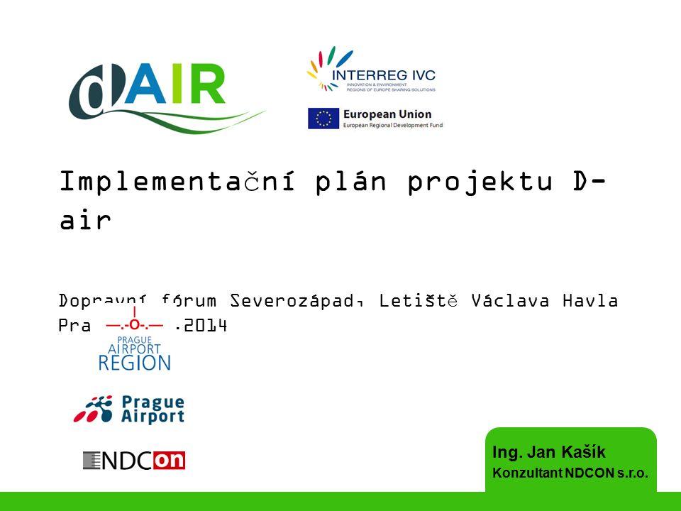 Regionální implementační plán (IP) Obsah: –Cíle IP (povrchová doprava + provoz letiště) –Evropské a národní strategie pro snižování CO 2 + zákony –Výpočet emisí CO 2 v současném stavu Povrchová doprava (jednotkové hodnoty/dopravní průzkum 2012) Provoz letiště (výpočet ze spotřeby energií) [+ LTO cyklus] –Přepokládaný rozvoj letiště a emisí CO 2 –Opatření IP (povrchová doprava + provoz letiště) probíhající, schválená, plánovaná a navrhovaná Navržená opatření v kontextu evropských zkušeností a trendů –Cílové hodnoty IP / Souhrn plánovaných a navrhovaných opatření –Strategie realizace –Koordinace se zúčastněnými stranami