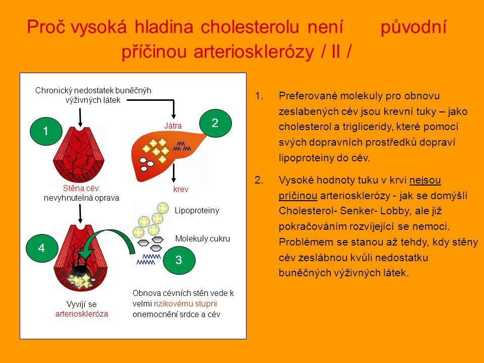 1.Preferované molekuly pro obnovu zeslabených cév jsou krevní tuky – jako cholesterol a trigliceridy, které pomocí svých dopravních prostředků dopraví lipoproteiny do cév.