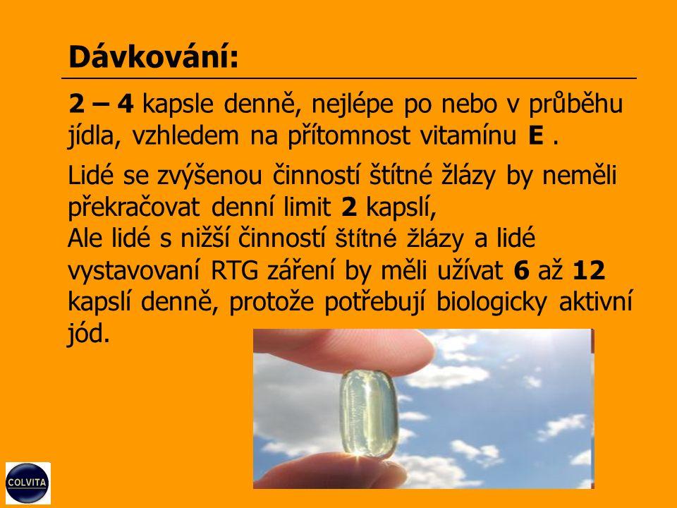 Dávkování: 2 – 4 kapsle denně, nejlépe po nebo v průběhu jídla, vzhledem na přítomnost vitamínu E.