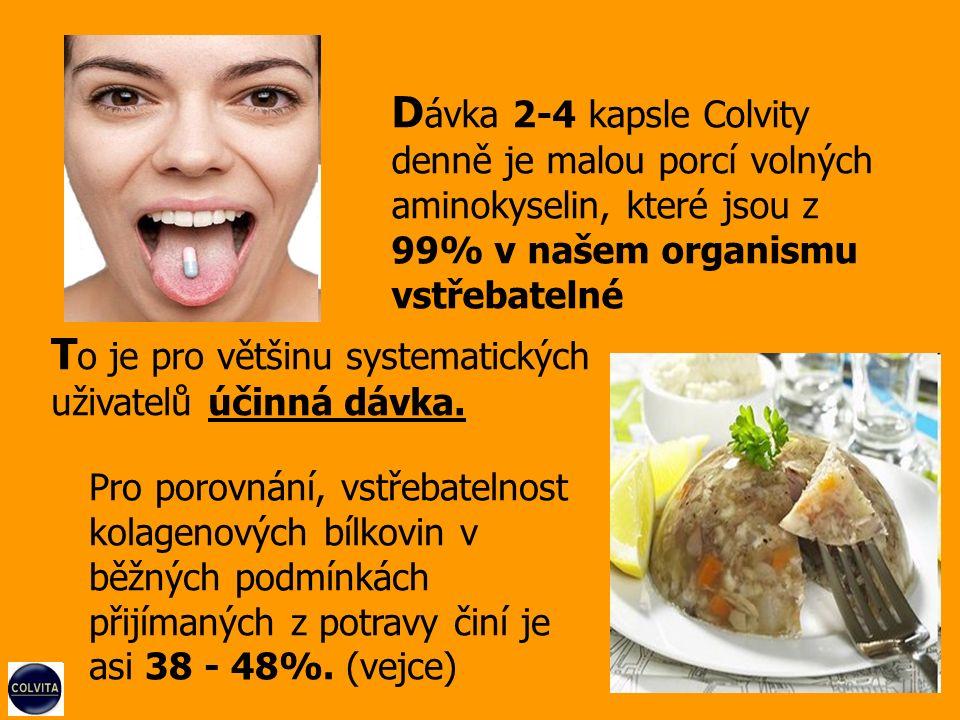 Pro porovnání, vstřebatelnost kolagenových bílkovin v běžných podmínkách přijímaných z potravy činí je asi 38 - 48%.